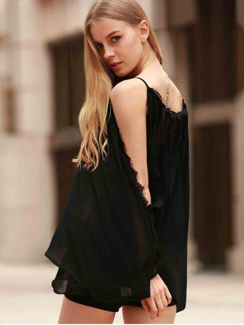 latest Eyelash Lace Spliced Draped Blouse - BLACK L Mobile