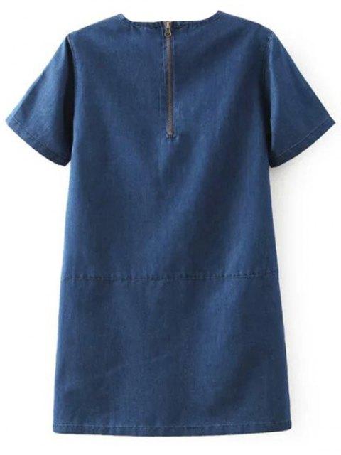 affordable Flanging Double Pocket Round Neck Short Sleeve Denim Dress - DEEP BLUE L Mobile