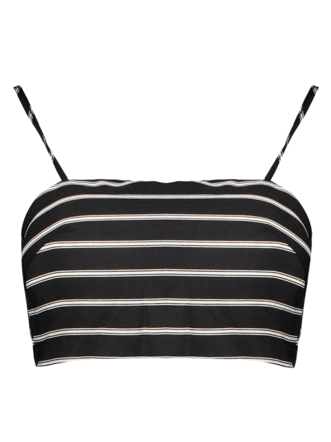 chic Stripe Cami Cropped Tank Top - WHITE AND BLACK L Mobile