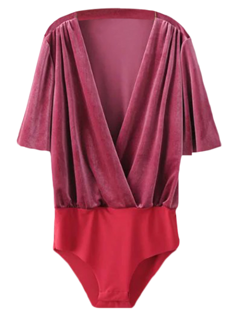best Velour Wrap Bodysuit - WINE RED M Mobile