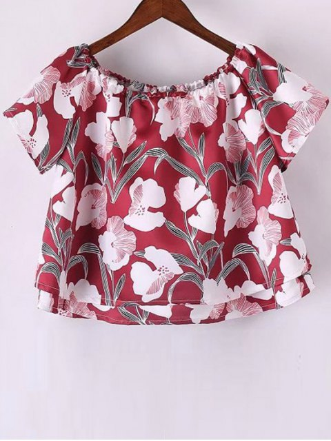 affordable Floral Off The Shoulder Crop Top - RED S Mobile