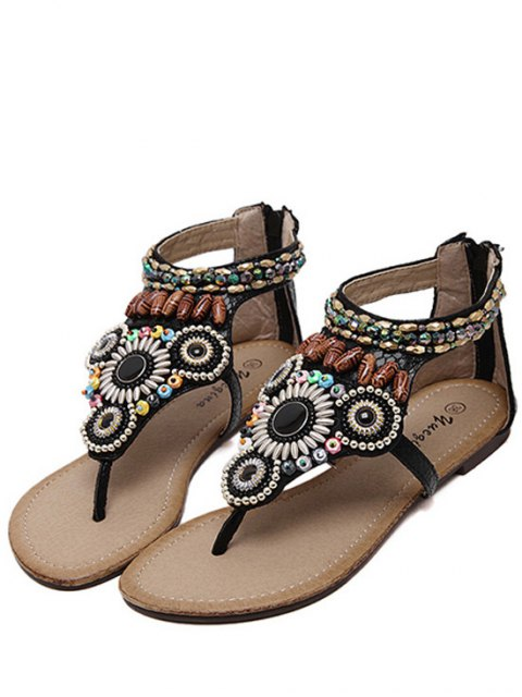 lady Zip Beading Flat Heel Sandals - BLACK 40 Mobile