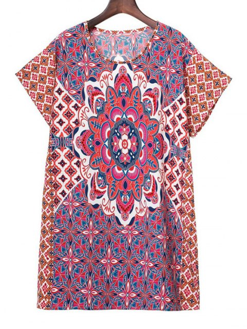 hot Printed Round Collar Short Sleeve Dress - COLORMIX L Mobile