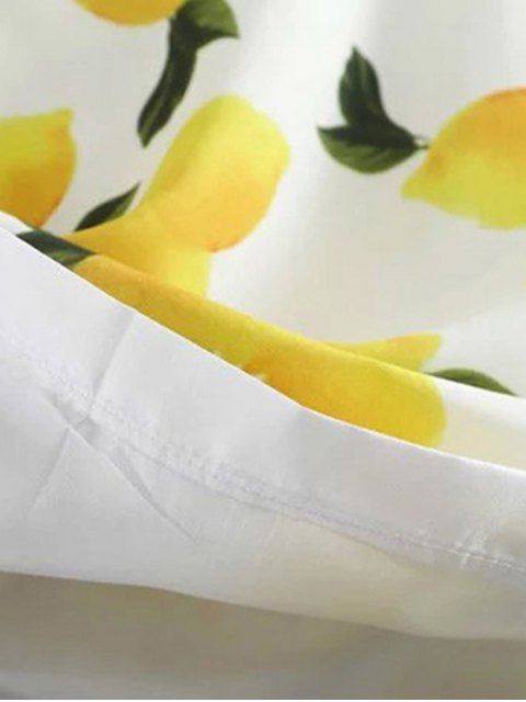 lady Lemon Print Round Collar Sleeveless Dress - WHITE L Mobile