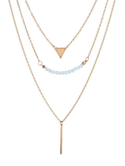 outfit Beaded Bar Triangle Pendant Necklace - GOLDEN  Mobile
