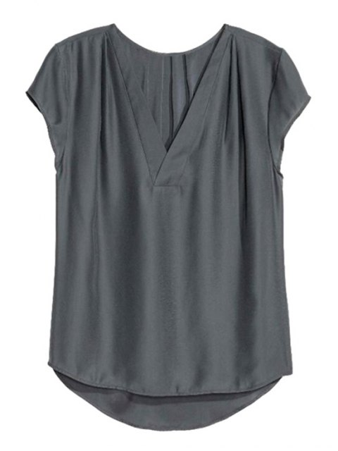 buy Loose Solid Color V Neck Short Sleeve T-Shirt - DEEP GRAY S Mobile