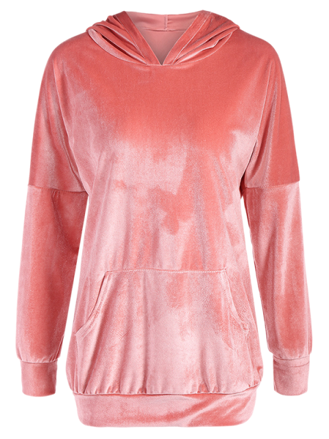 women Hooded Long Sleeve Velvet Casual Dress - PINK L Mobile