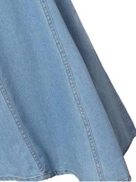buy Hip Pockets Asymmetrical Denim Skirt - LIGHT BLUE M Mobile