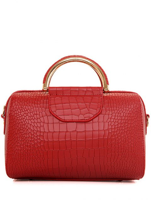 womens Crocodile Print Solid Color Tote Bag - RED  Mobile