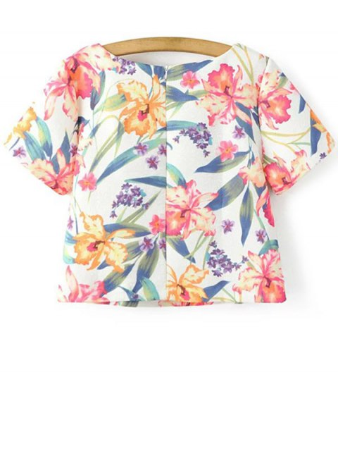 trendy Cropped Floral Print T-Shirt and Mini Skirt Twinset - WHITE S Mobile