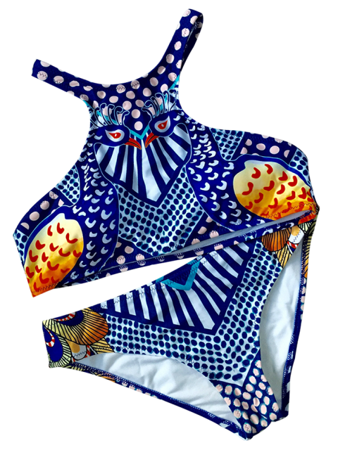 women's Ethnic Printed Sports Bikini Set - BLUE M Mobile