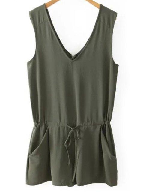 shop Solid Color V Neck Sleeveless Romper - BLACKISH GREEN M Mobile