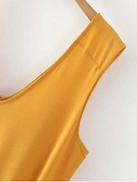shops Solid Color V Neck Sleeveless Romper - BLACKISH GREEN L Mobile