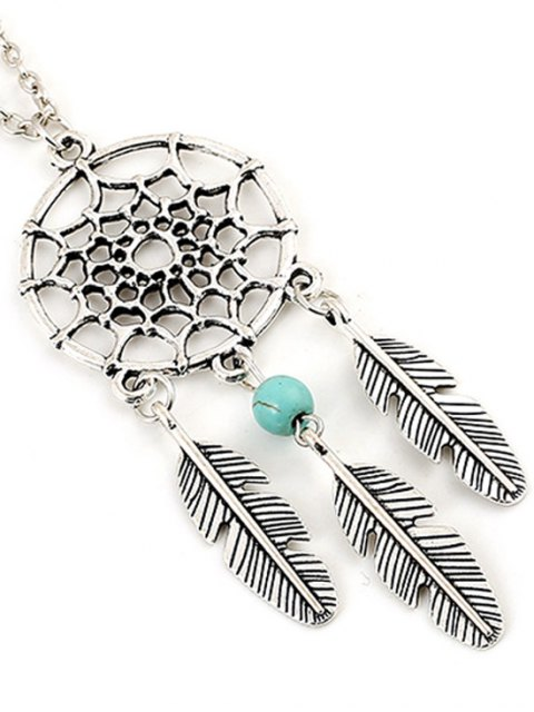 women's Feathers Hollow Out Spider Web Pendant Necklace - SILVER  Mobile