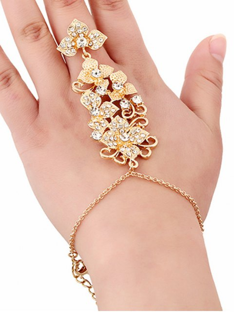 buy Rhinestone Flower Ring and Wrist Chain - GOLDEN  Mobile