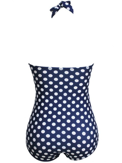 online Polka Dot Halter One-Piece Swimwear - DEEP BLUE S Mobile