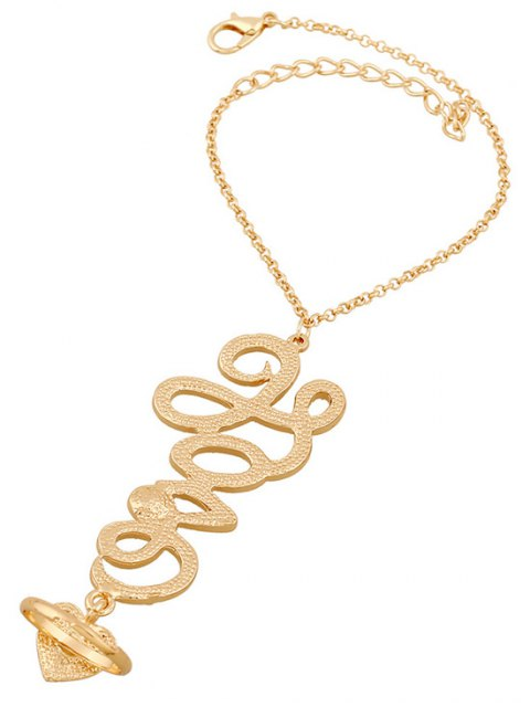 affordable Rhinestone Heart Ring and Wrist Chain - GOLDEN  Mobile