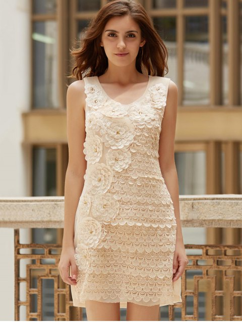 buy Floral Embroidered Scoop Neck Sleeveless Dress - APRICOT ONE SIZE(FIT SIZE XS TO M) Mobile