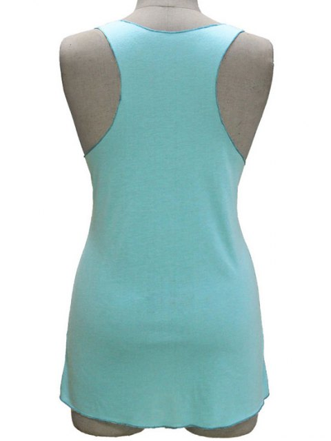 new Letter Print Scoop Neck Tank Top - LIGHT BLUE XL Mobile