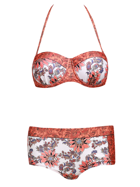 outfit Floral Print Halter Padded Swimsuit - ORANGE M Mobile