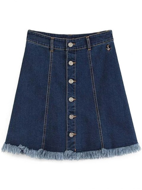 ladies Button-Front Denim Skirt - DEEP BLUE L Mobile