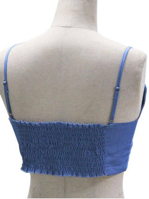 sale Cropped Spaghetti Straps Chambray Tank Top - BLUE M Mobile