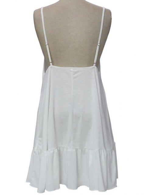 latest Spaghetti Straps Open Back Solid Color Dress - WHITE M Mobile