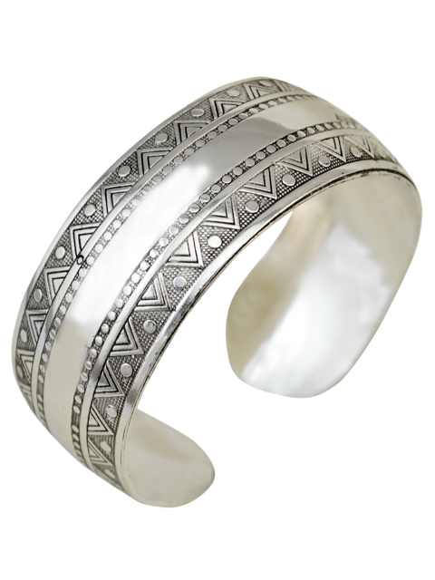 hot Ethnic Triangle Alloy Cuff Bracelet - SILVER  Mobile