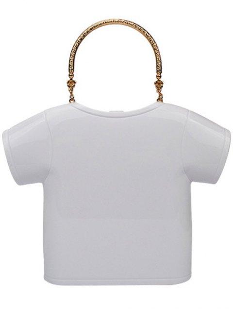 latest T-Shirt Shape Lip Print Evening Bag - WHITE  Mobile