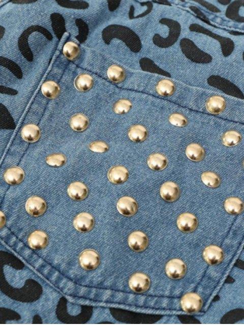 shops Denim Rivet Embellished Pockets Shorts - ICE BLUE S Mobile