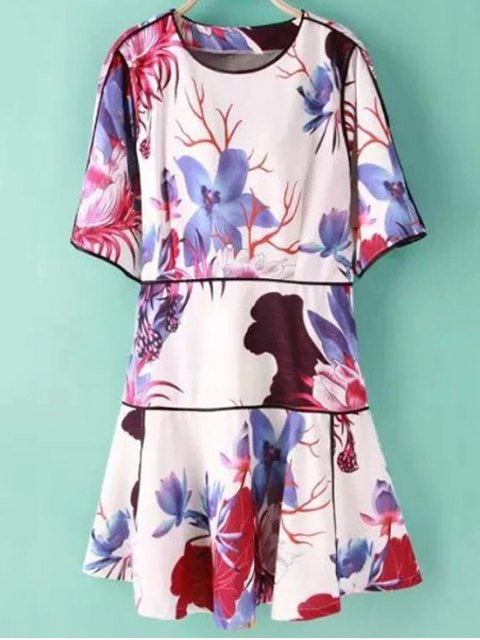 outfits Floral Print Jewel Neck Half Sleeve Dress - COLORMIX S Mobile