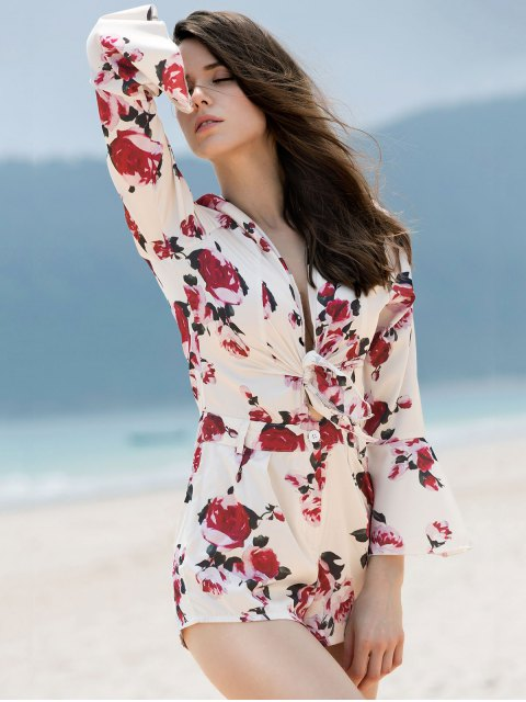 new Bell Sleeve Tie Front Floral Romper - COLORMIX L Mobile