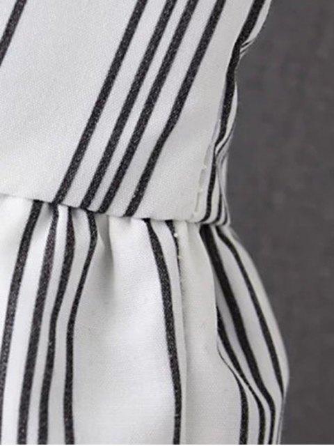 women Striped Jewel Neck Sleeveless Ruffles Spliced T-Shirt - DEEP BLUE M Mobile