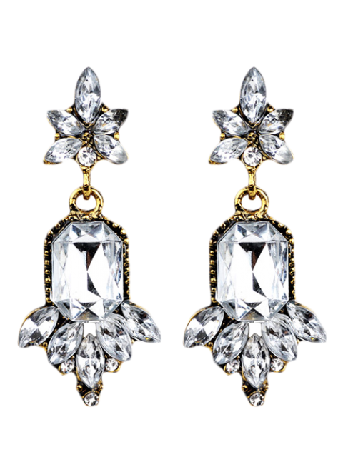 affordable Faux Crystal Chandelier Floral Drop Earrings - WHITE  Mobile