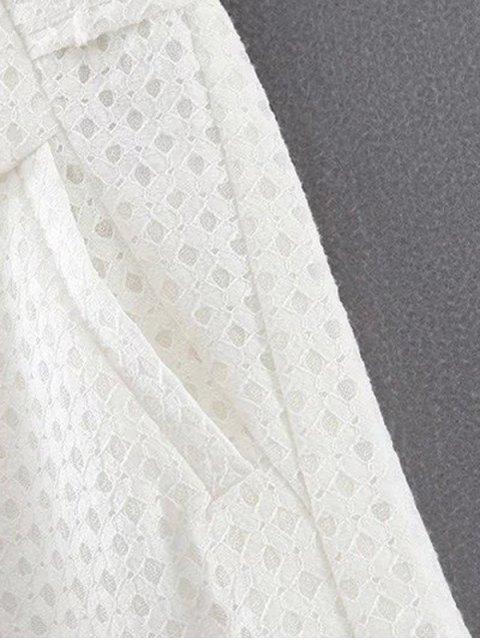 online Lace Solid Color Pockets Shorts - WHITE L Mobile