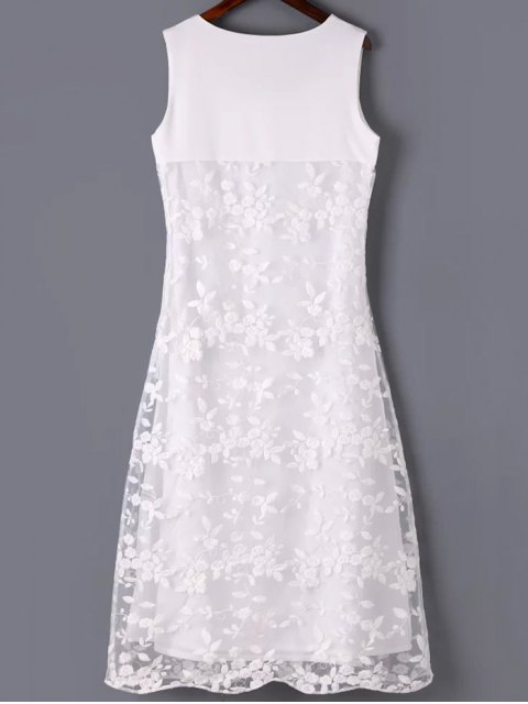 new Organza Spliced Round Neck Sleeveless Embroidery Dress - WHITE S Mobile
