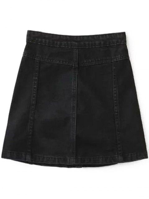 new A Line Button Up Denim Skirt - BLACK XXS Mobile