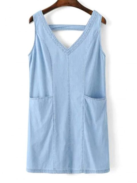 new V-Neck A-Line Tank Dress - BLUE L Mobile