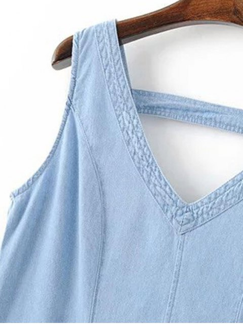 best V-Neck A-Line Tank Dress - BLUE S Mobile