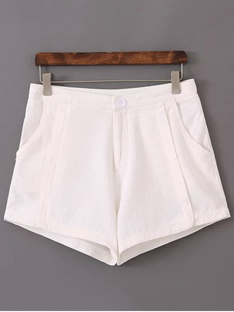 lady Pure Color High Waisted Shorts - WHITE 38 Mobile