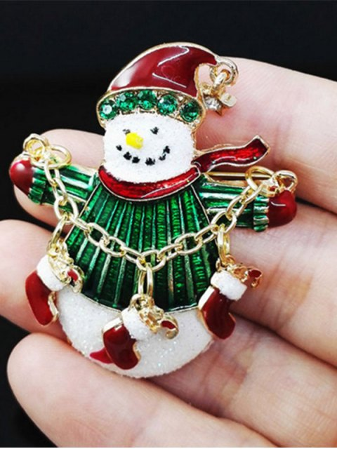 outfit Christmas Rhinestone Snowman Enamel Brooch -   Mobile