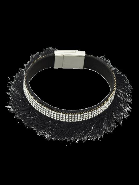 affordable Rhinestone Faux Leather Tassel Bracelet - BLACK  Mobile