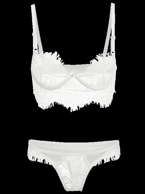 women's Spaghetti Straps Lace Bra Set - WHITE M Mobile