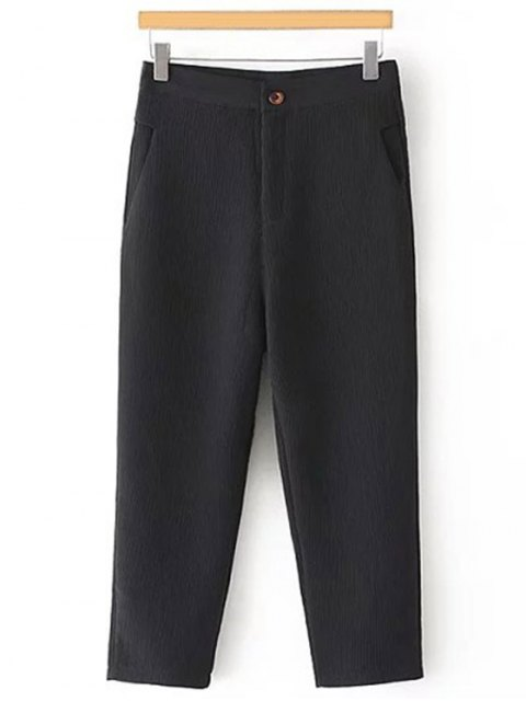 hot Pleated Straight Leg Capri Pants - BLACK M Mobile