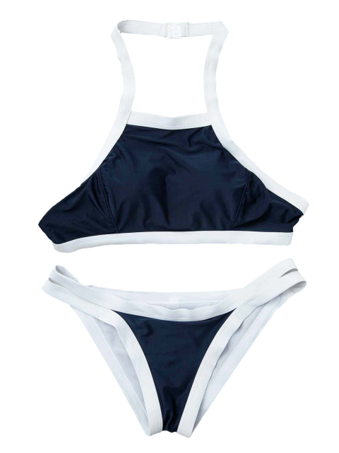 chic Hit Color Halterneck Bikini Set - BLUE M Mobile