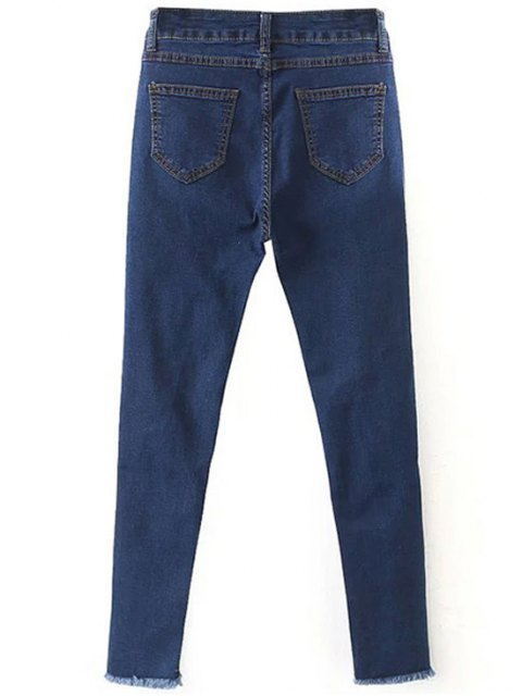womens Slimming Ripped Solid Color Jeans - DEEP BLUE 2XL Mobile