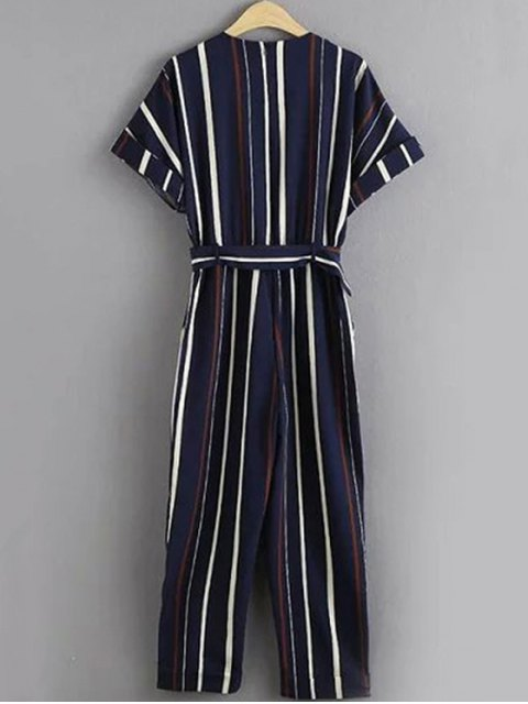 womens Stripe Round Neck Short Sleeve Jumpsuit - STRIPE M Mobile