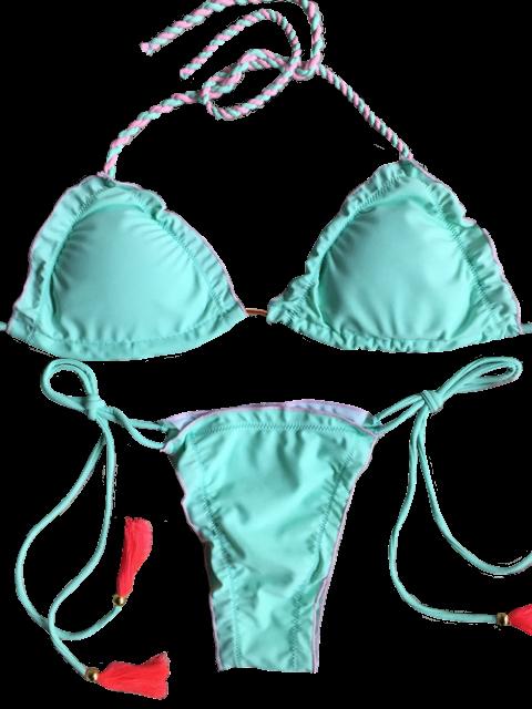 sale Strappy Scalloped Side Tie Tassel Bikini Set - LIGHT GREEN S Mobile