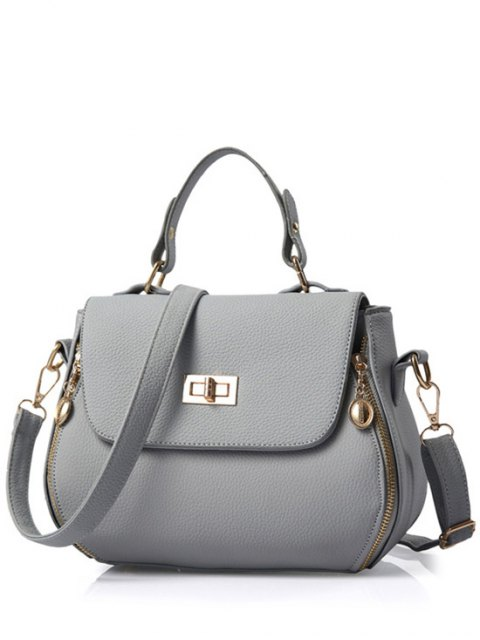 hot Hasp Solid Color PU Leather Tote Bag - GRAY  Mobile