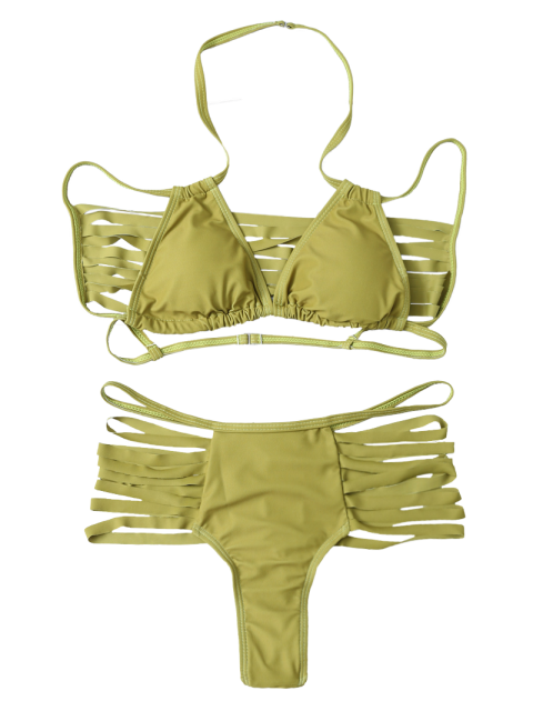 women's High Leg Strappy Cutout Bikini Set - GREEN S Mobile